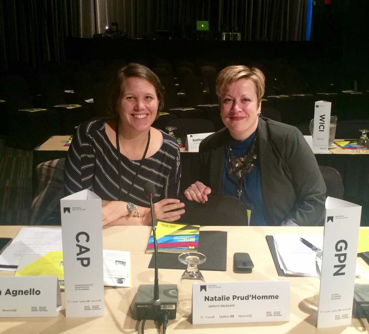 Eleanor Mohammed, right, represented Global Planners Network and Kristin Agnello represented the Commonwealth Association of Planners at the 2017 World Design Summit.