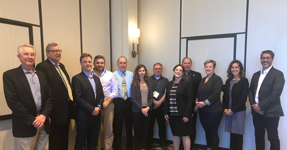 From left, Tim Van Epp (APA), Jim Drinan (APA), Harry Burchill (RTPI), Brendan Nelson (PIA), Ric Stephens (ISOCARP), Beth McMahon (CIP), Ken Forrest (CIP), Cynthia Bowen (APA), Jeff Soule (APA), Eleanor Mohammed (CIP), Stephanie Firestone (AARP), and Roberto Moris (Chilean Planners).